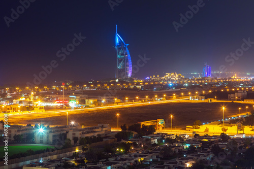 Cityscape of Dubai at night, UAE Poster