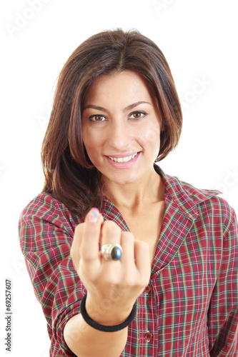 Photo  woman call with her finger on white background