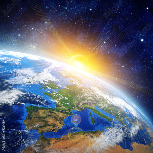 Fototapety, obrazy: sunrise over earth in outer space