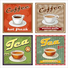Fototapeta Vintage Vintage coffee and tea poster. vector illustration