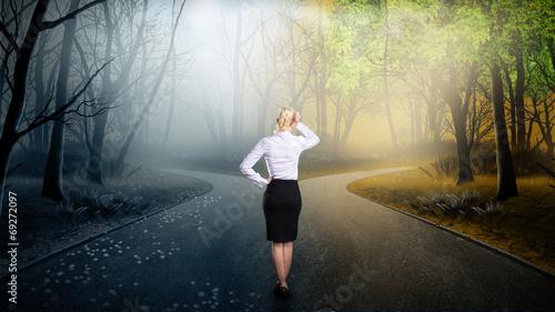 Geschäftsfrau muss sich bei einer Weg-Gabelung entscheiden Tapéta, Fotótapéta
