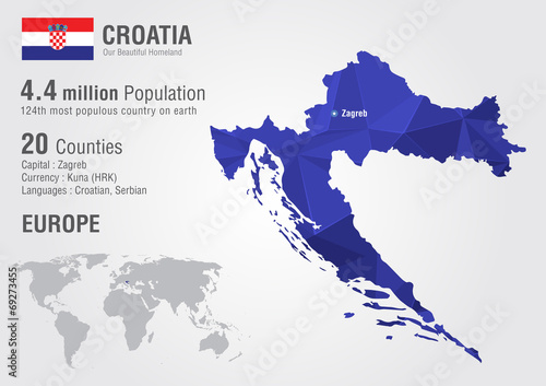 Fotografie, Obraz Croatia world map with a pixel diamond texture.