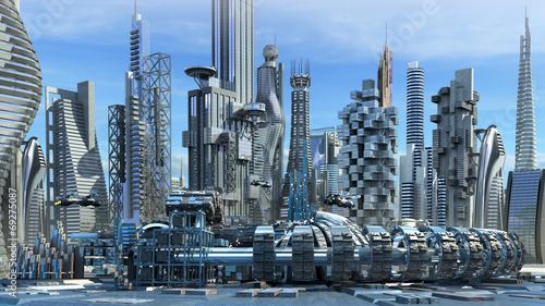 Fotografie, Obraz  Science fiction city skyline with metallic skyscrapers