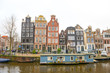Dutch canals and typical canalside houses in Amsterdam