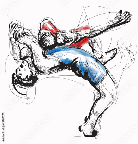 Obraz Greco-Roman Wrestling. An hand drawn vector illustration. - fototapety do salonu