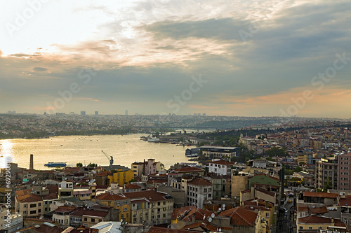 panorama of Golden Horn in Istanbul. Poster