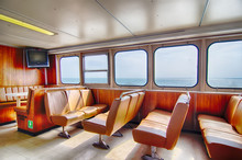 Ferry Boat Cabin And Rows Of ...