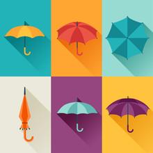 Set Of Cute Multicolor Umbrell...