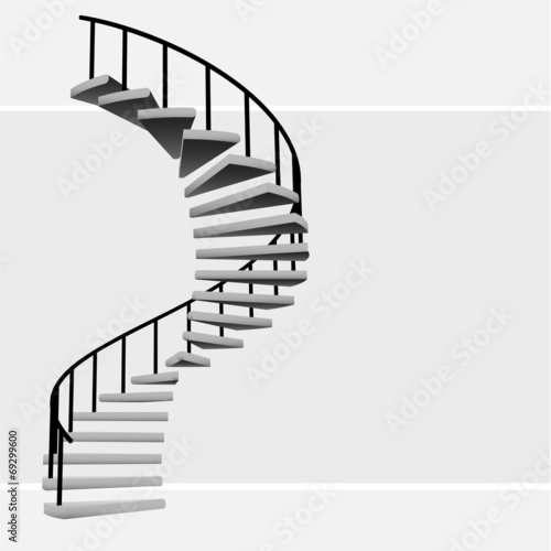 Valokuva  isolated circular staircase with black handrail vector