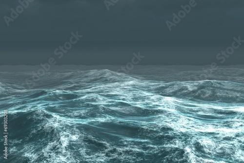 Fototapety, obrazy: Rough blue ocean under dark sky