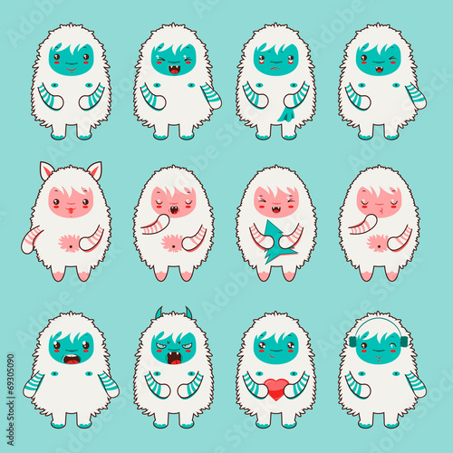 Vector design set of cute chibi yeti emoticons Poster