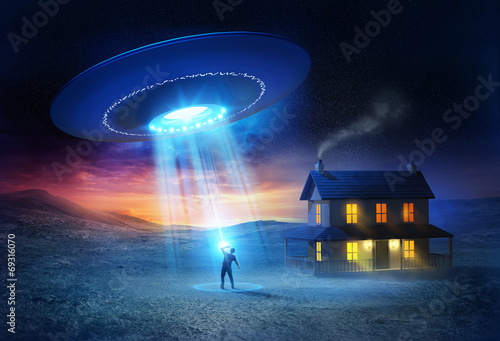 Foto auf AluDibond UFO UFO Abduction