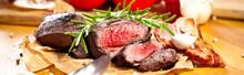 Saftiges Steak Fleisch Auf Dem...