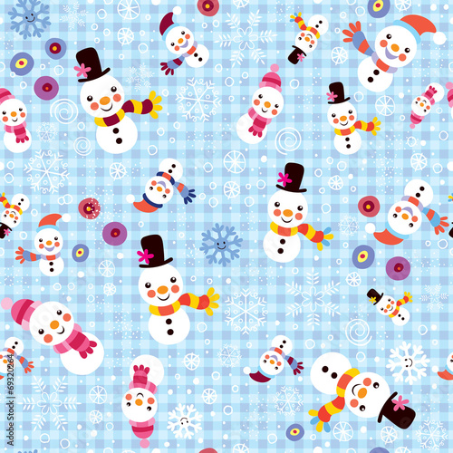 christmas-snowman-snowflakes-winter-seamless-pattern