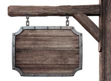 Old Wooden Medieval Tavern Sig...