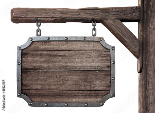 old wooden medieval tavern signboard isolated on white Wallpaper Mural