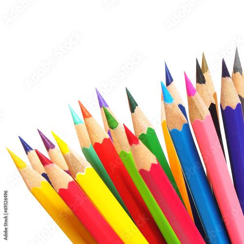 Fotografie, Obraz  Barevné tužky na bílém pozadí