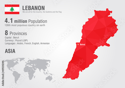 Wallpaper Mural Lebanon world map with a pixel diamond texture.