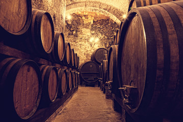 Fototapeta Wino Wooden barrels with wine in a wine vault, Italy