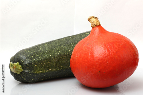 Fotografie, Obraz  marrows and zucchini on a white background