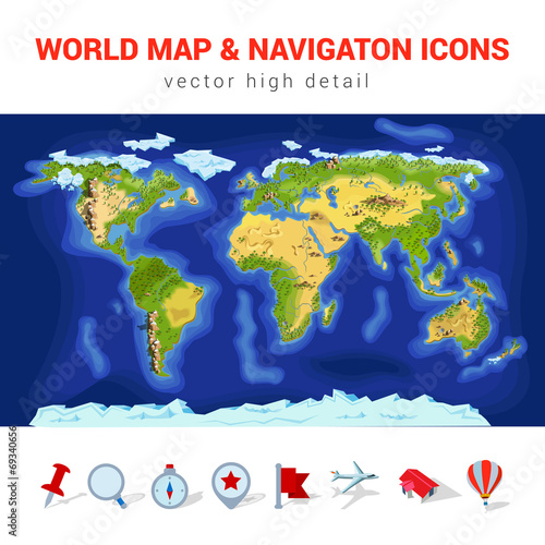 World Map Gps.World Map High Detail Vector Navigation Icon Set Gps Continents