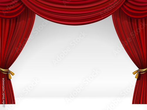 Cuadros en Lienzo  Vector White Scene with Isolated Red Curtains
