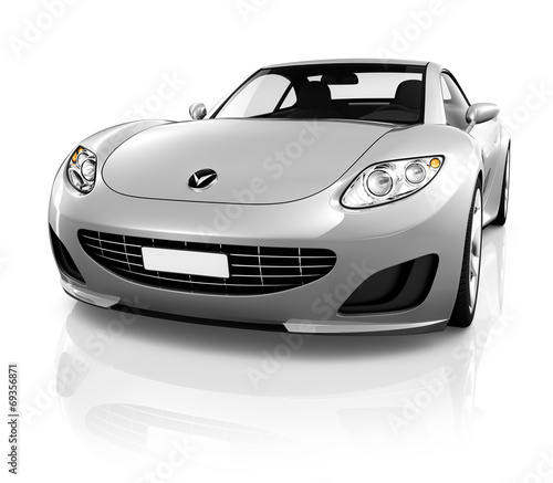Poster Voitures rapides 3D Sports Car on a White Background