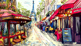 Fototapeta Paryż - Street in paris - illustration