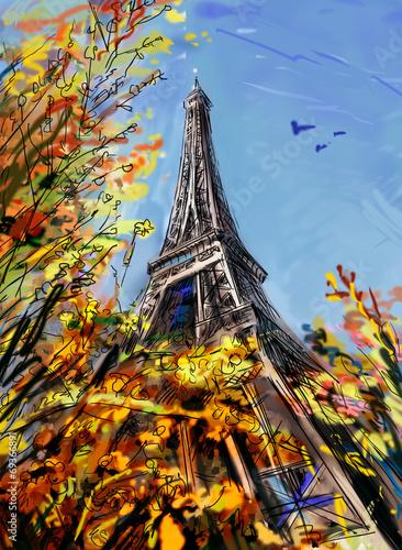 ulica-w-paryzu-ilustracja-jesien-zlote-kolorowe-liscie-i-wieza-eiffla