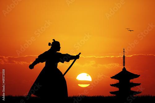 Foto  Samurai ninja at sunset