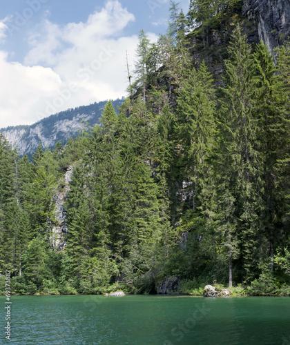 Foto auf Gartenposter Reflexion lake tovel in the dolomites, italy
