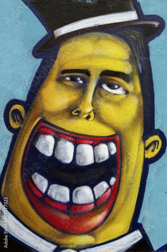 plakat Kolorowe malowidła z ludzkiej twarzy laughing