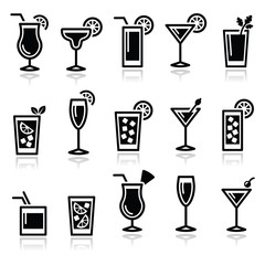 Naklejka Cocktails, drinks glasses vector icons set
