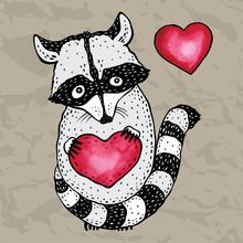Raccoon Carrying A Heart.