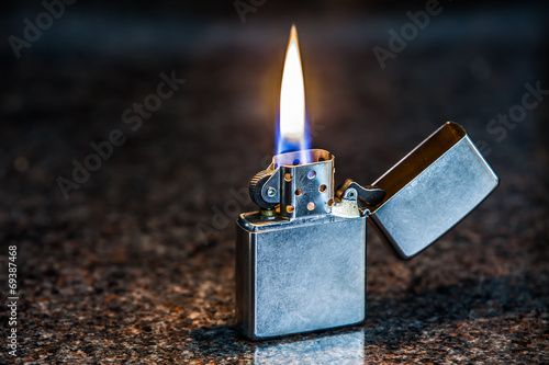 Silver metal lighter Canvas Print