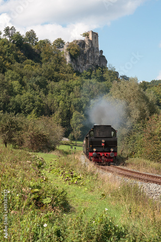 Historical Steam Locomotive at the Medieval Castle Ruin Neideck, Poster