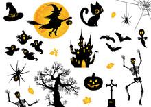 Halloween, Icon, Sammlung, Vek...