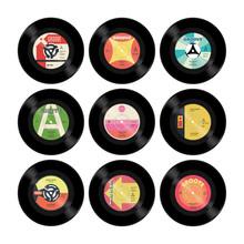 Nine Colourful Retro Vector Se...
