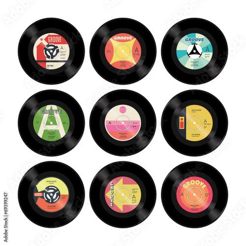 Fotografía  Nine colourful retro vector seven inch singles with labels