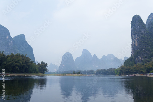 Foto op Canvas Guilin Li River scenery sight with fog in spring, Guilin, China
