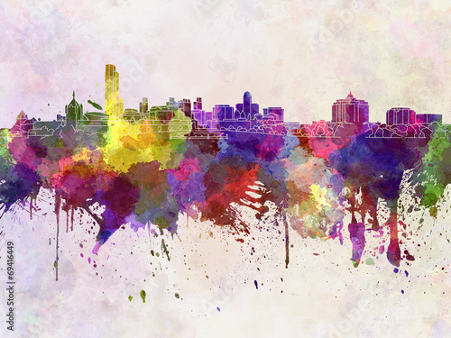 Albany skyline in watercolor background Wallpaper Mural