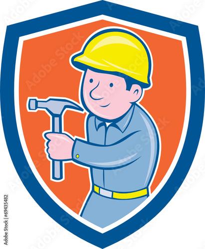 Canvas Prints Fairytale World Carpenter Builder Hammer Shield Cartoon