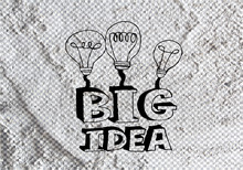 Big Idea Concept Light Bub On Cement Wall Texture Background Des