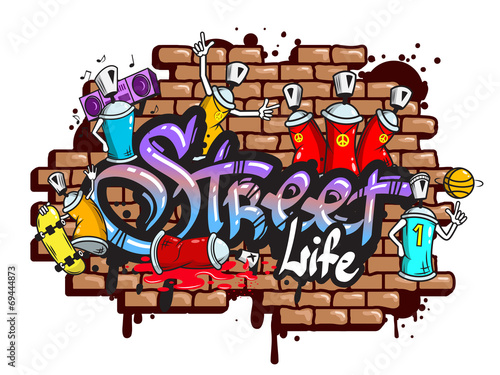 Graffiti word characters composition Poster
