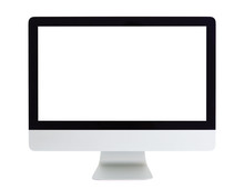 Computer With Blank White Scre...