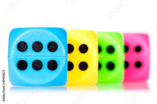 Colorful dice aligned плакат