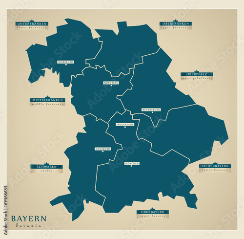 Moderne Landkarte Bayern Buy This Stock Vector And Explore