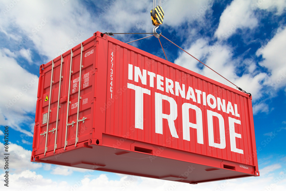 Fototapeta International Trade on Red Container.
