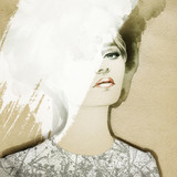 woman portrait  .abstract  watercolor .fashion background - 69471644