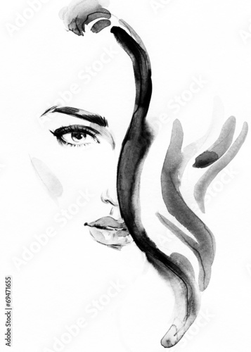 Poster Portrait Aquarelle woman portrait .abstract watercolor .fashion background